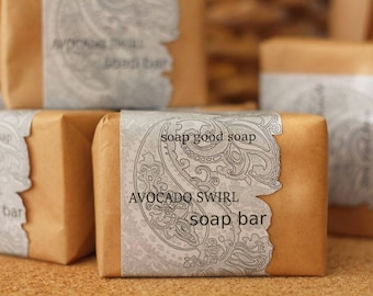 Natural Mild Avocado oil Soap Bar Handcrafted Soap Artisan Soap Unscented Free Shipping