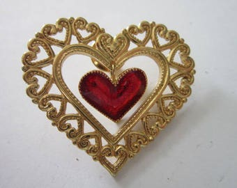 Vintage Gold Tone & Enameled 18 Multi Heart Brooch