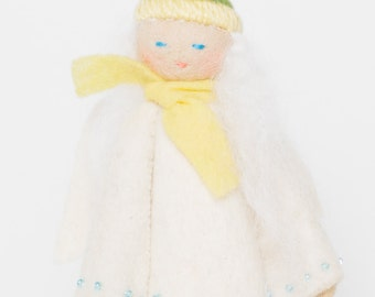 Angel Tree Topper, Snow Belle Angel, Felt Christmas Tree Topper