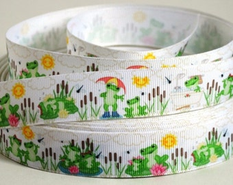"Frog Grosgrain Ribbon - Playful Frogs - Frog Ribbon - 7/8"" Printed Grosgrain Ribbon"