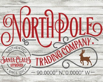 North Pole Trading Wood Sign