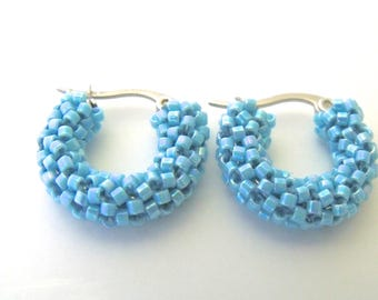 Turquoise blue hoop earrings, beaded small blue earrings | woven beaded hoop earrings | beaded blue jewelry