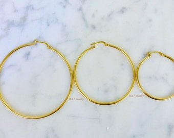 14K Yellow Gold Hoops Available In Three Sizes