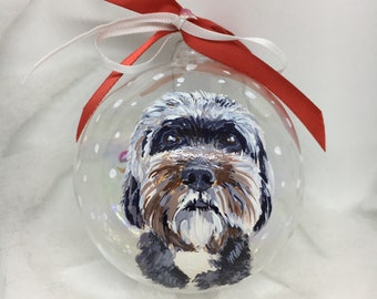Personalized, Small dog portrait on Glass ball. Original gift of authentic painting, hand painted. For sphere collectors.