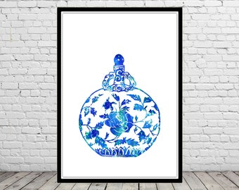Ginger jar, ginger jar print, watercolor ginger jar, ginger jar art, ginger jar art print, watercolor print, watercolor art (3539b)