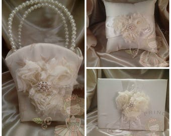 The complete wedding, set of three, ring bearer pillow, guest book, and flower girl basket