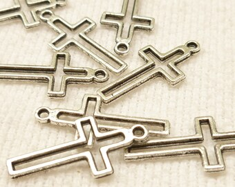 Silver Tone Outline of Simple Crucifix Charms (10) - S47