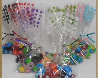 "100pcs 4""X 6"" polka dot cello bags + matched twist ties for party gift packing"