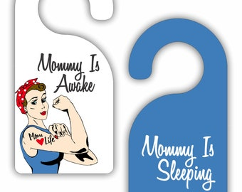 Mommy is Awake / Mommy is Sleeping - Vintage Style - Double-Sided Room Door Sign Hanger