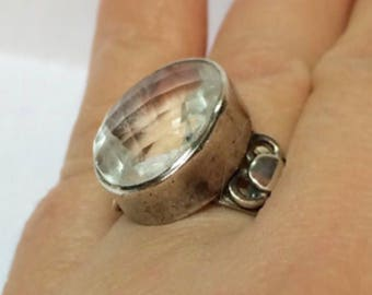 Large sterling silver clear multifaceted Topaz gemstone statment ring size 7