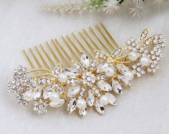 Crystal and Pearl Bridal Hair Comb, Gold Wedding Hair Accessories, Wedding Hair Comb, Floral Hair Comb, Bridal Headpiece, Bridal Jewelry