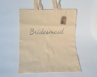 Natural Cotton Wedding Tote Shopping Bag Shopper With Handmade Grey Bridesmaid Stencil Design Personalised Hen Party Gift