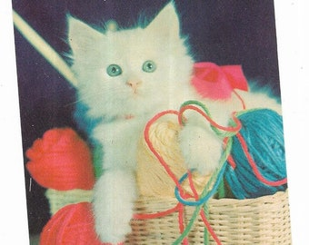 Vintage Greetings Cats Kittens Postcard White Persian Basket Red and Blue Yarn UNUSED