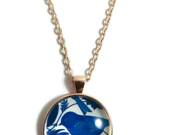 BLUE BIRD PENDANT Necklace, Free Shipping, Wing Pendant Necklace, Birds, Jewelry, Folk, Nature, Blue, Navy,  Blue Sweet Bird #H434