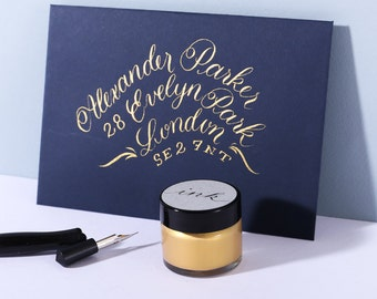 Gold Calligraphy Ink/ Modern Calligraphy Ink/ Dip Pen Ink/ Pointed Pen Ink/ Shimmer Ink/ Modern Calligraphy Supplies