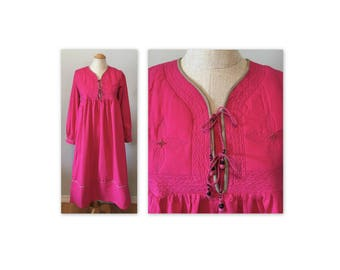Vintage 70s Hippie Dress XS Bright Pink Cotton Quilted Yoke NOS