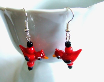 Adorable Red Bird Earrings Red Coral Earrings Red Cardinal Bird Cute Gift for Her Gift for Girlfriend Handmade Earrings Gift Under 15