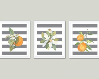 Oranges Art Prints - Orange Wall Art - Watercolor Orange Prints - Modern Kitchen Art - Set of 3 - Yellow and Gray Home Decor - Aldari Art