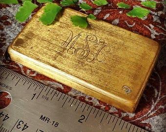 "Vintage Brass Tape Measure, metric and imperial, 1 meter/39"" long old monogrammed measuring tape"