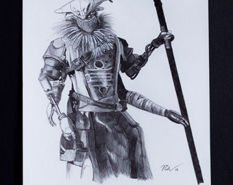 "Variks the Loyal - 8""x10"" Original Pen & Ink Portrait"