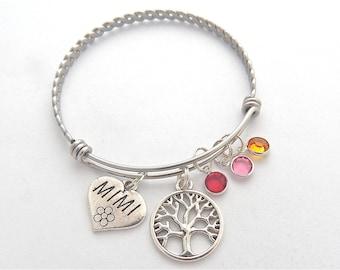Personalized Mimi Gift, Gifts for Mimi, Mimi Bracelet, Mimi Jewelry, Grandmother Family Tree Bracelet, Birthstones Bangle, Mothers Day Gift