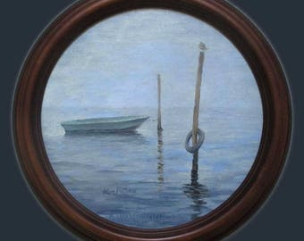 Porthole View Fisherman's Morning Oil Painting