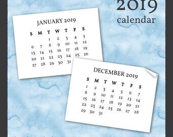 2019 Calendar Clip Art in Serif Font - Instant Download