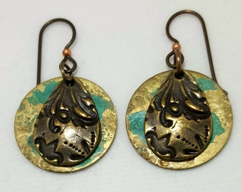 Floral Brass Earrings