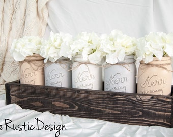5 Neutral Toned Mason Jar Centerpiece in Rustic Planter, Rustic Home Decor, Mason Jar Decor, Rustic Decor, Canada, Mason Jar Centerpieces