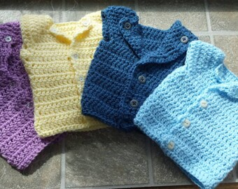 Infant to 3 months Crochet Baby Vests