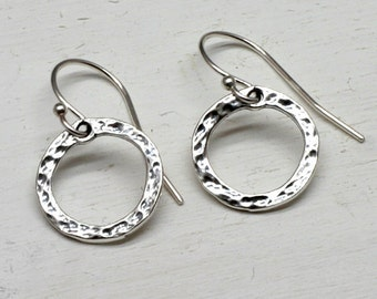 Silver Circle Earrings, Sterling Silver Hammered Circles, Small, Tiny, Delicate, Simple, Hoop, Graduation, Eternity Circles