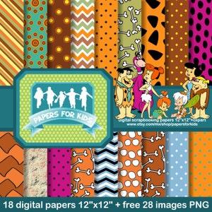 Digital Papers, The Flintstones, Kids, Background, Birthday, Cartoons Retro, Clipart