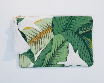 Palm Leaf Print Zipper Pouch Greenery Monogram Makeup Bag