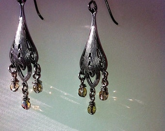 Time Travelers Victorian Gothic Earrings Steampunk Earrings Goth Wedding Jewelry