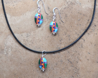 Multi Inlay beaded Oval Earrings, Necklace, & SET (Zuni Fetish style)