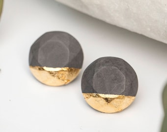 Concrete Circle Earrings with Gold Leaf (dark)