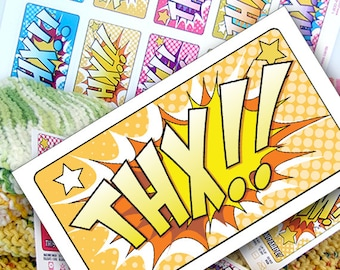 DIY Printable Thank You Notes or Cards Retro Comic Book Style