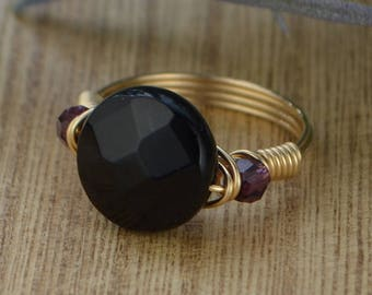 Black Onyx and Any Two Birthstone  Ring- Sterling Silver, Yellow or Rose Gold Filled Wire Wrap Ring- Size 4 5 6 7 8 9 10 11 12 13 14