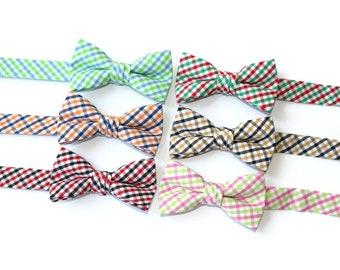Boys Bow Ties~Boys Bow Tie~Boys Plaid Bow Ties~Cotton Bow Tie~Church Tie~ Wedding~Ring Bearer~ Tie~Tattersall~Holiday Tie~