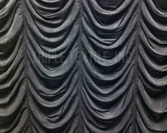 Black Drop Ruche Double Knit Stretch Polyester Spandex Fabric - 48 to 50 Inches Wide - By the Yard or Bulk