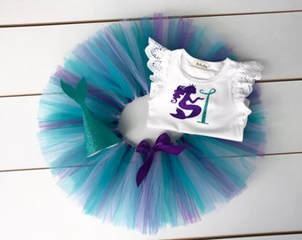 Mermaid Theme Cake Smash Outfit - First Birthday Outfit - Teal, Purple and Lavender