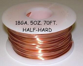 Genuine Solid Copper Wire  18 ga  5 OZ. 70 Ft. ( Half Hard ) bright copper