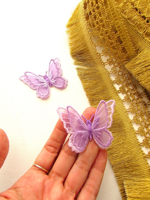 Iron on lace butterfly patch  Lavender butterfly iron applique  White lace butterfly patch Iron on butterfly patch with 2D wings