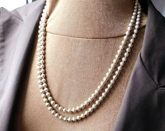 Vintage Goldtone Textured Metal Bead Double-Strand Necklace - Mid-Century Modern Necklace - Goldtone Beaded Necklace - 1950s Fashion Jewelry