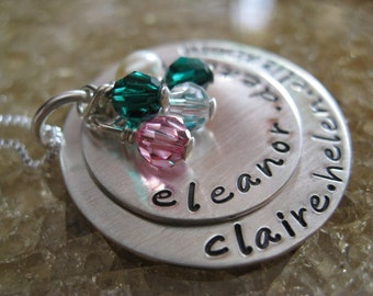 Personalized Hand Stamped Sterling Silver Necklace Family Circle Stack