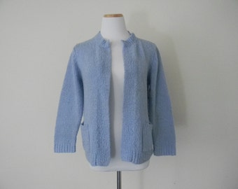 FREE usa SHIPPING Vintage women's knit sweater cardigan acrylic baby blue sweater size S