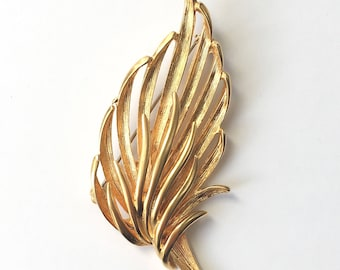 Vintage Feather Leaf Brooch