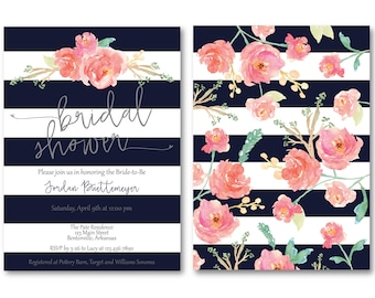 Navy Stripe Bridal Shower Invitation Front and Back