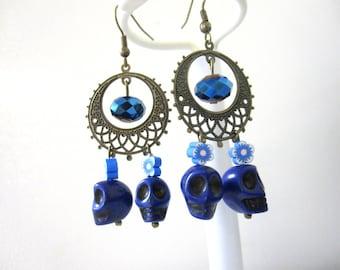 Blue Sugar Skull Earrings Chandelier Day of the Dead Jewelry