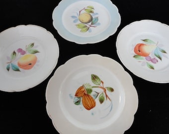 Four Vintage Fruit Plates